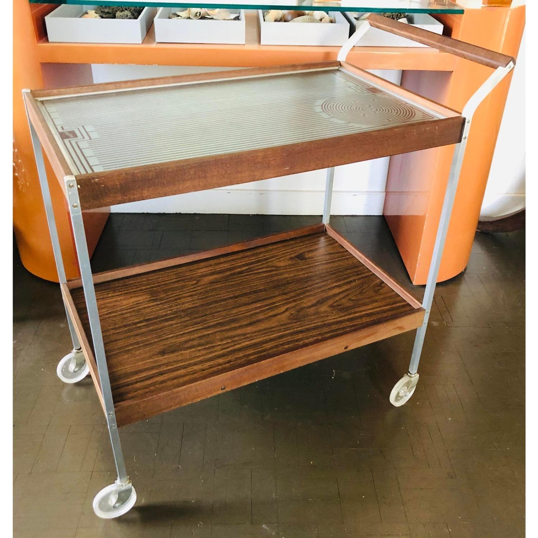 Mid Century Bar Cart Teak Glass Top - image-1