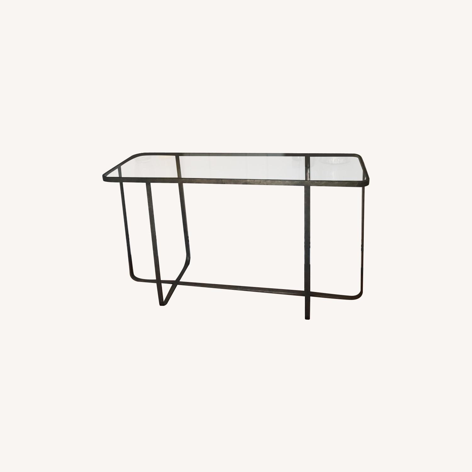 Hammered Iron/glass Top Bar Table - image-0