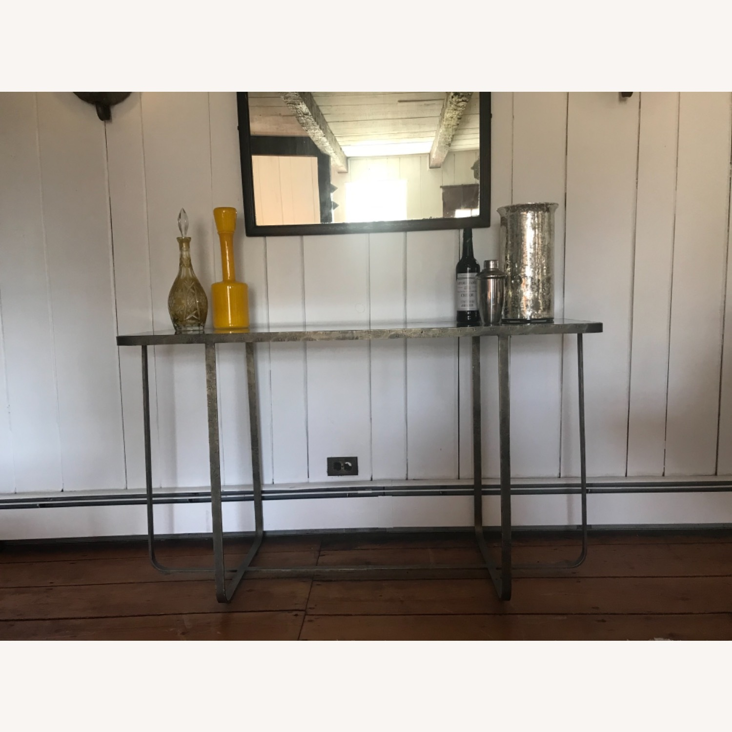 Hammered Iron/glass Top Bar Table - image-1