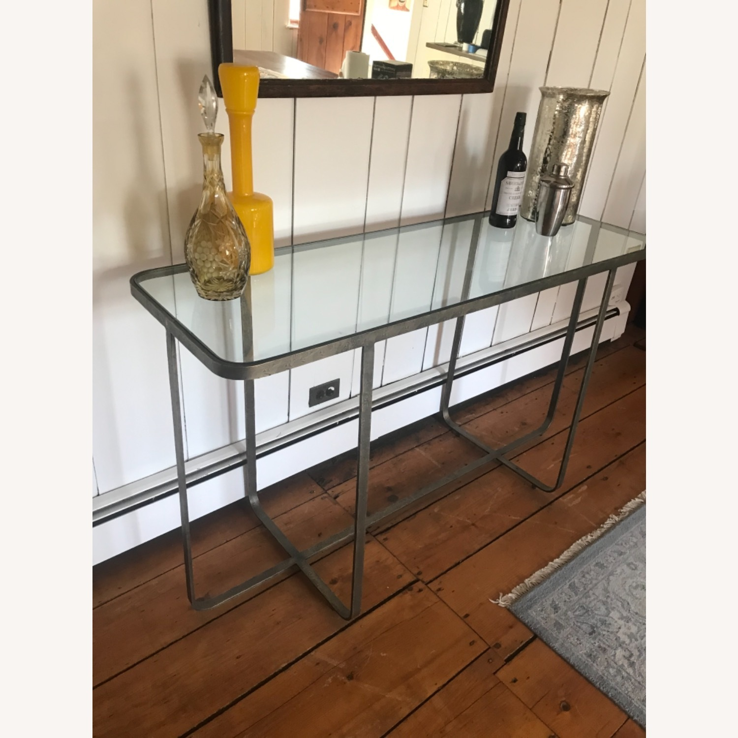 Hammered Iron/glass Top Bar Table - image-2
