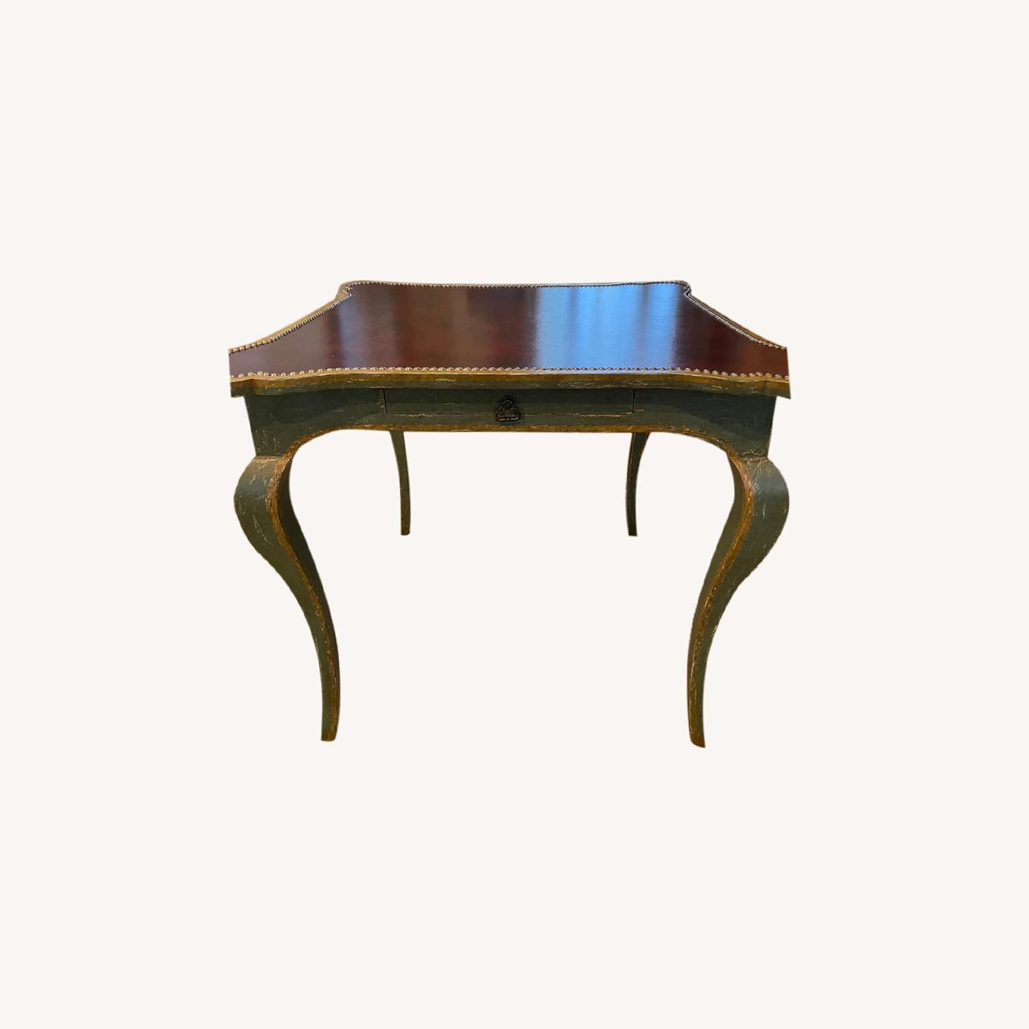Leather Top Table with Nail heads - image-0