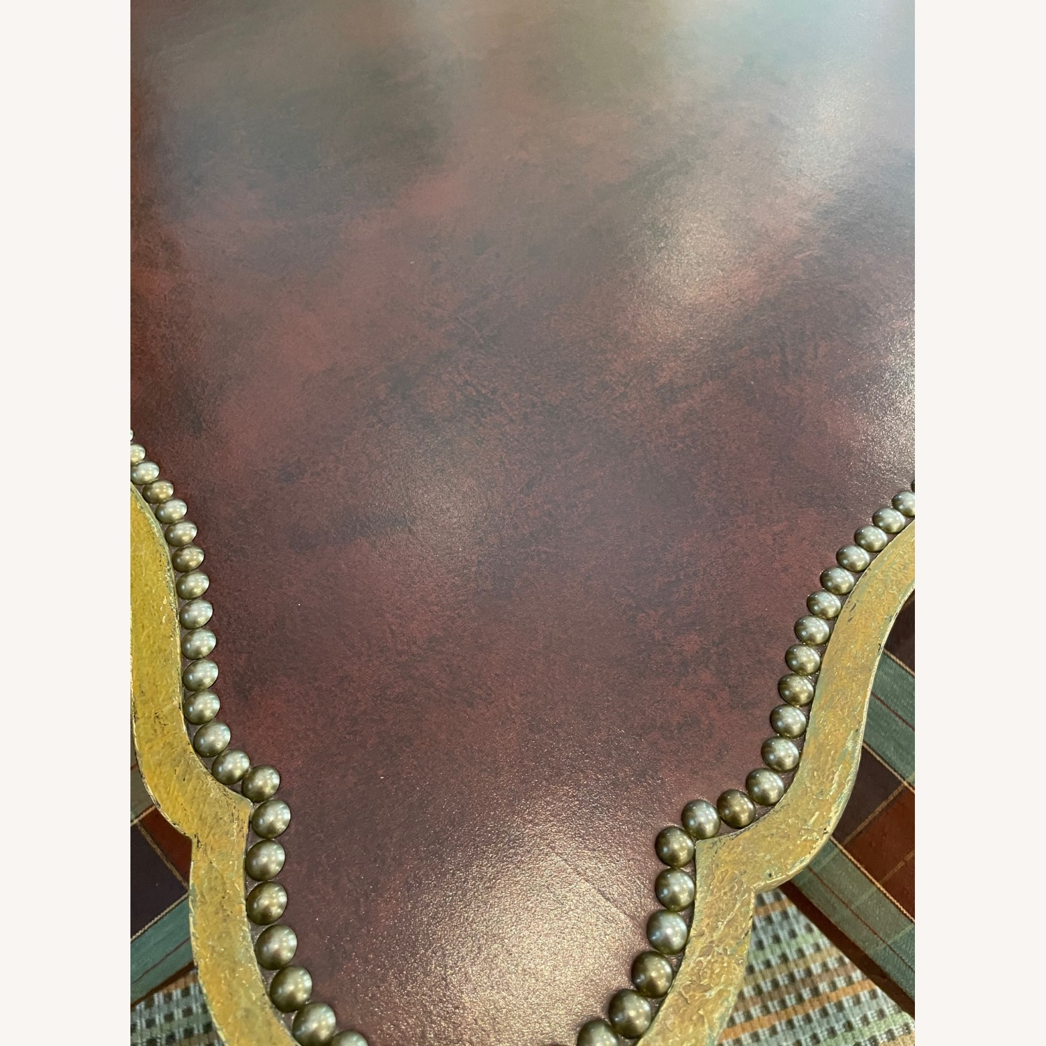 Leather Top Table with Nail heads - image-7
