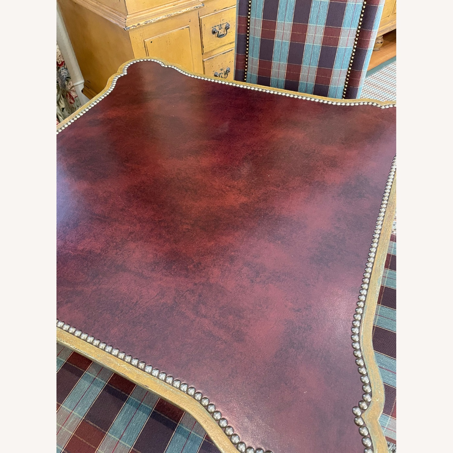 Leather Top Table with Nail heads - image-8