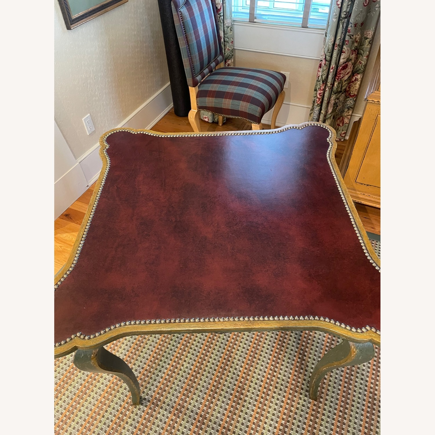 Leather Top Table with Nail heads - image-3