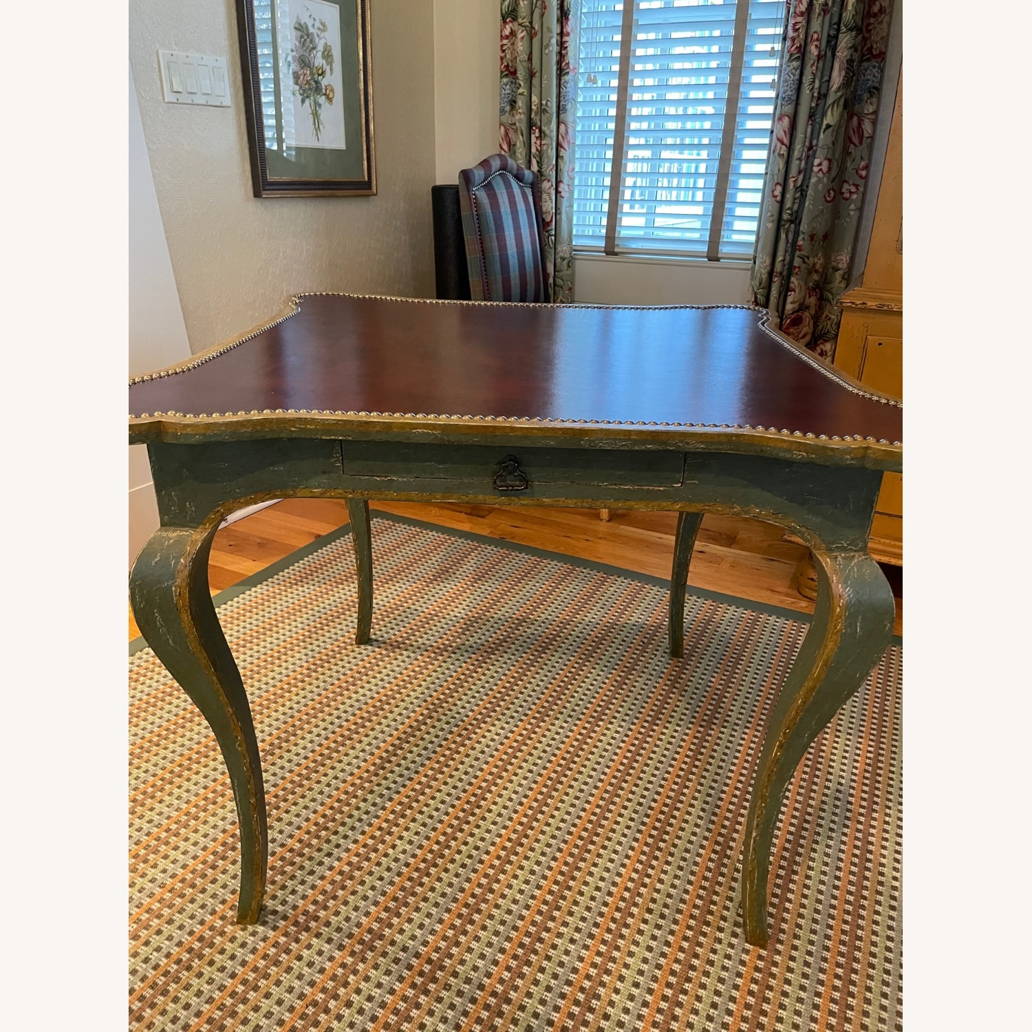 Leather Top Table with Nail heads - image-2