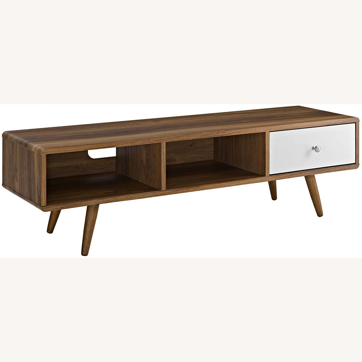 "Mid-Century Style TV Stand In 55"" Walnut Finish - image-0"