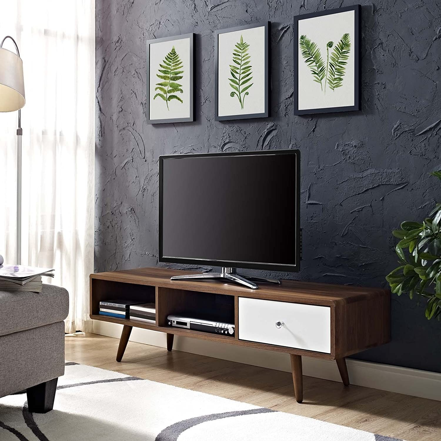 "Mid-Century Style TV Stand In 55"" Walnut Finish - image-4"