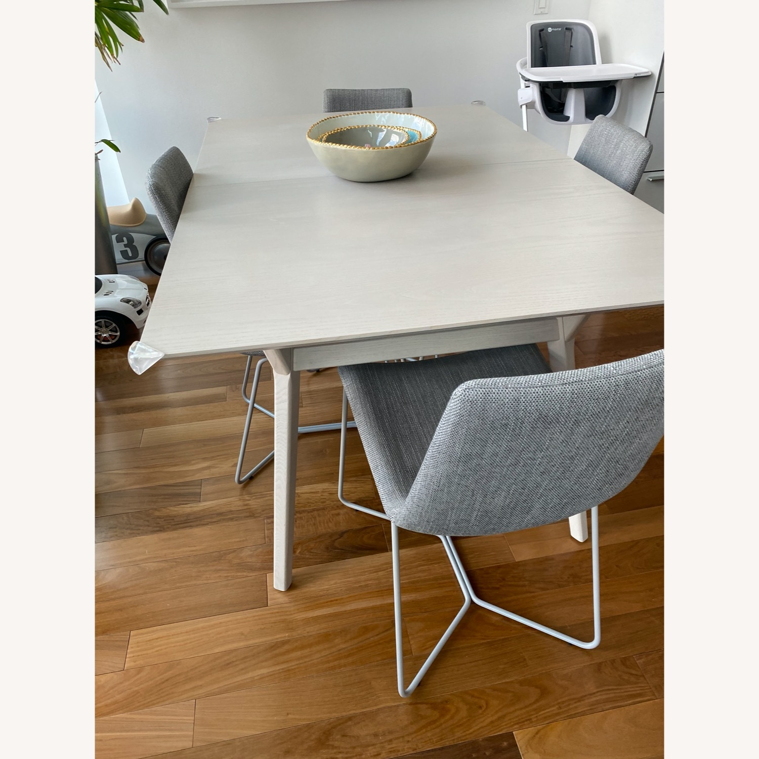 West Elm Grey Wood Dining Table and 6 chairs - image-3