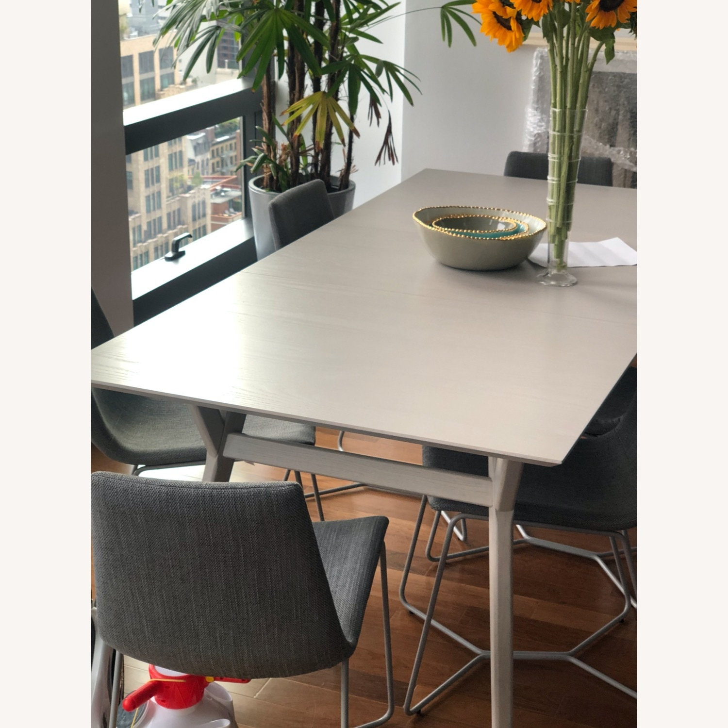 West Elm Grey Wood Dining Table and 6 chairs - image-2
