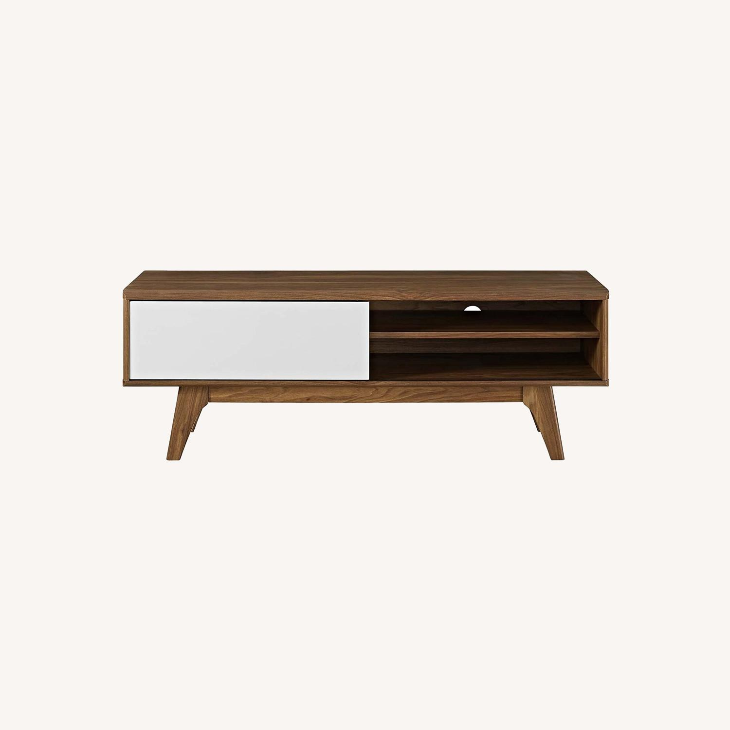 """Mid-Century Style TV Stand In 48"""" Walnut & White - image-5"""