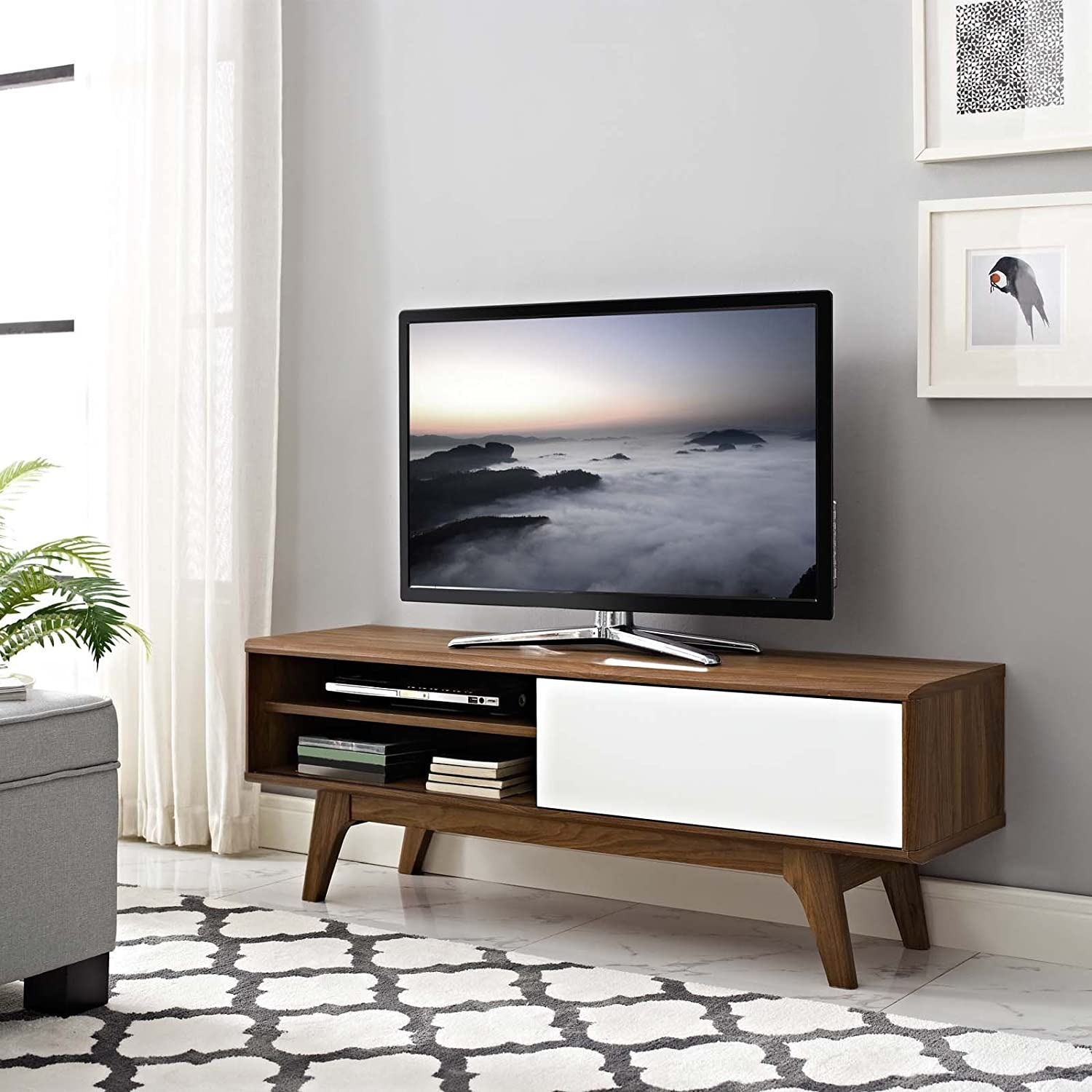 """Mid-Century Style TV Stand In 48"""" Walnut & White - image-3"""