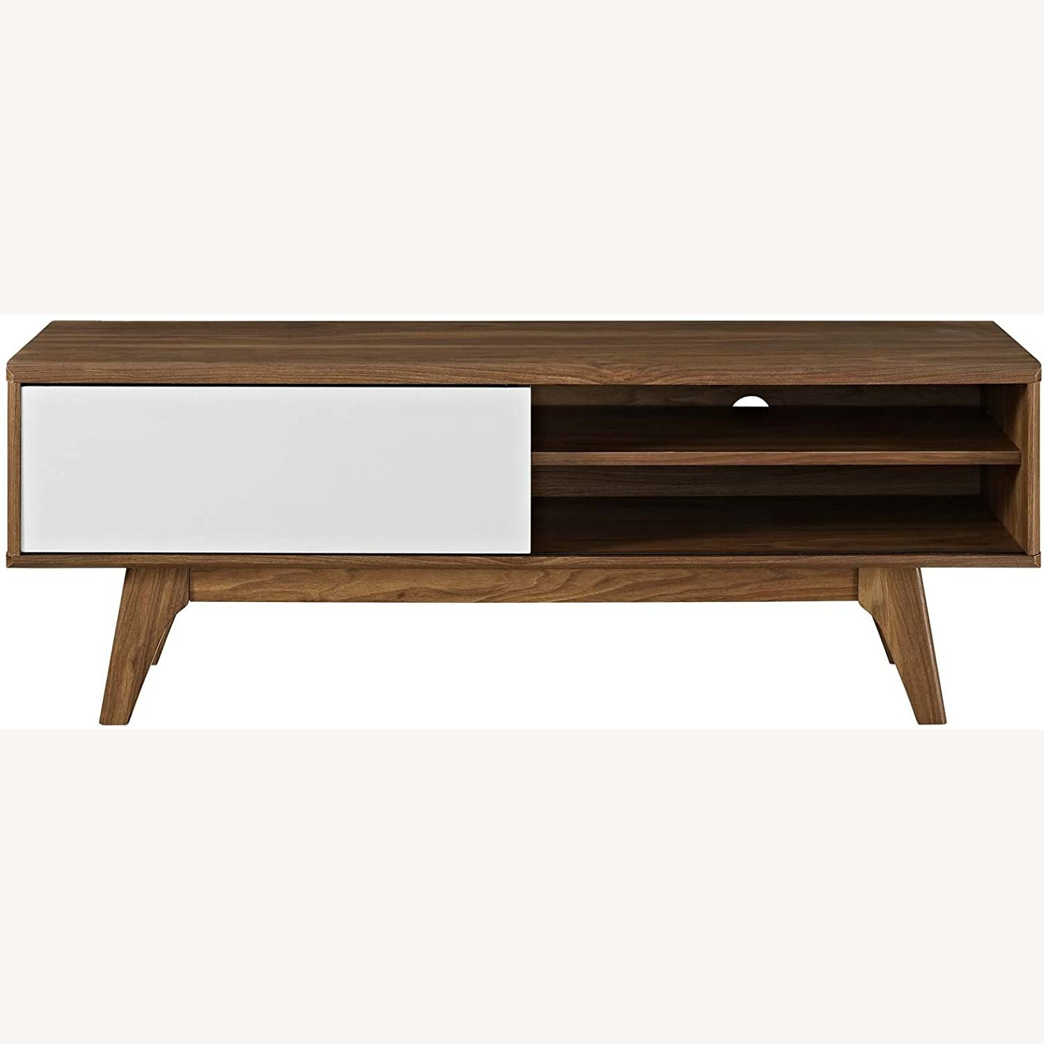 """Mid-Century Style TV Stand In 48"""" Walnut & White - image-1"""