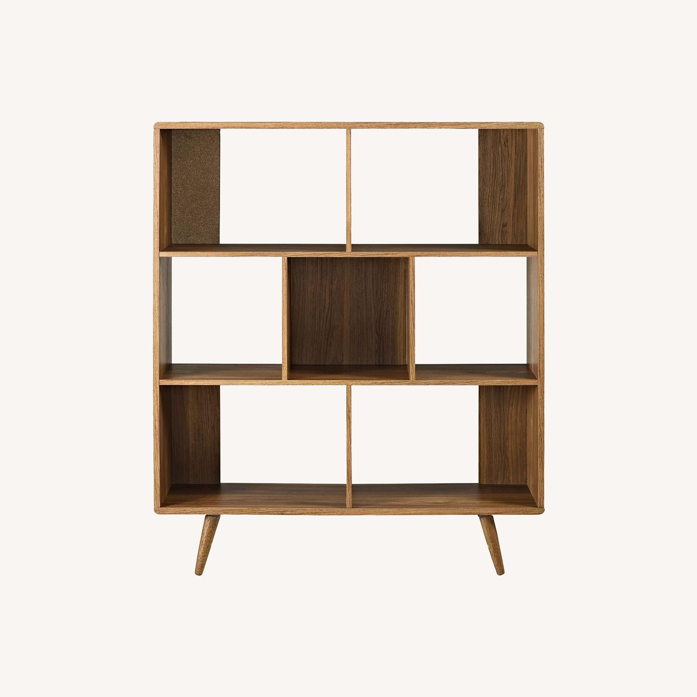Mid-Century Style Bookcase In 3-Tier Walnut Finish - image-5