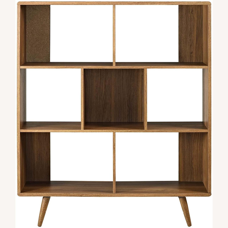 Mid-Century Style Bookcase In 3-Tier Walnut Finish - image-1