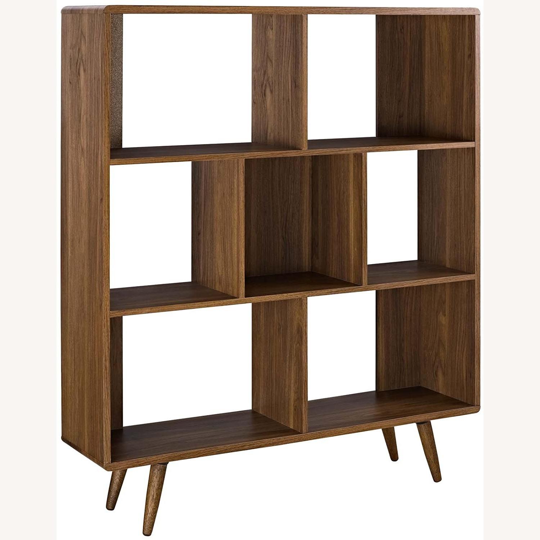 Mid-Century Style Bookcase In 3-Tier Walnut Finish - image-0