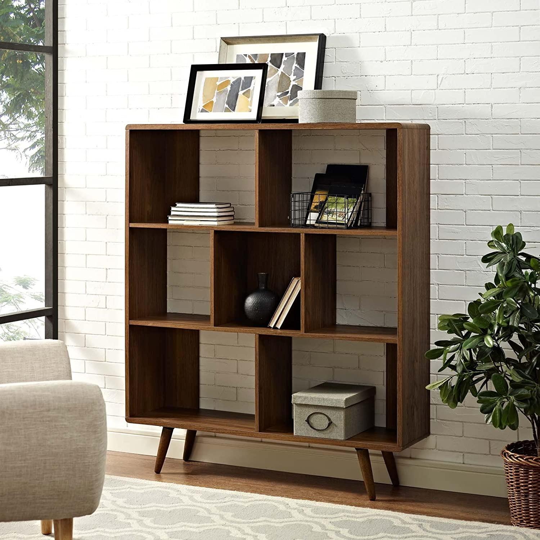 Mid-Century Style Bookcase In 3-Tier Walnut Finish - image-3