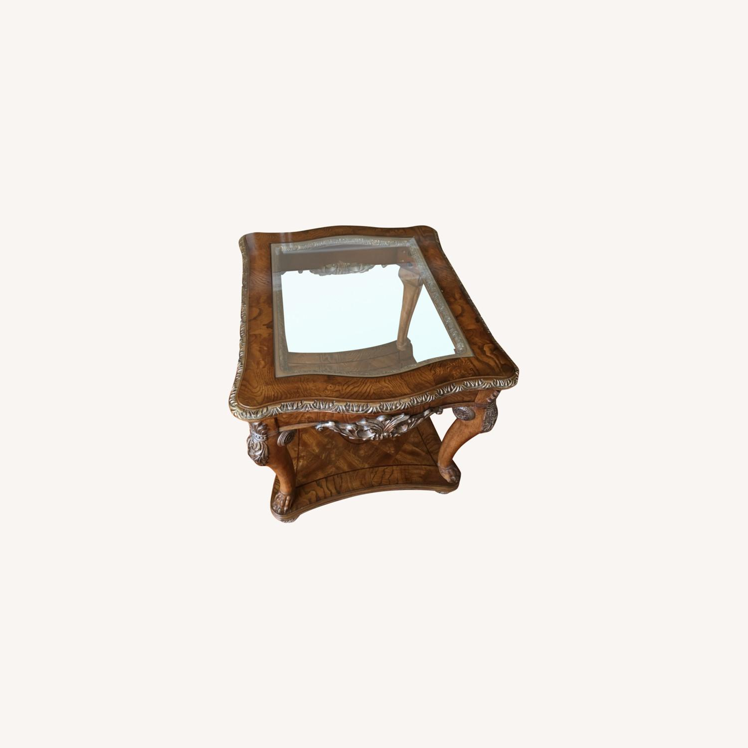 Burled Wood and Glass Side Table - image-0