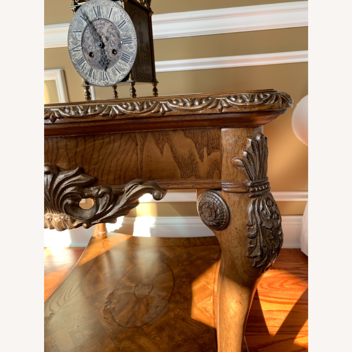 Burled Wood and Glass Side Table - image-3