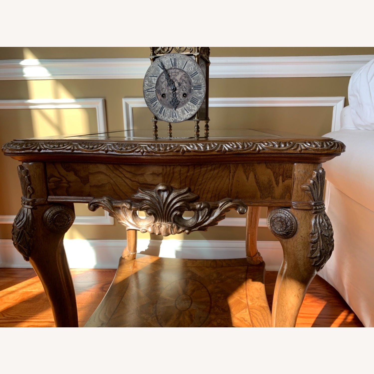 Burled Wood and Glass Side Table - image-2