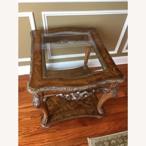 Used Burled Wood and Glass Side Table for sale on AptDeco
