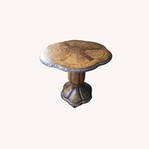 Used Round Pedestal Stand Burled Wood Side Table for sale on AptDeco