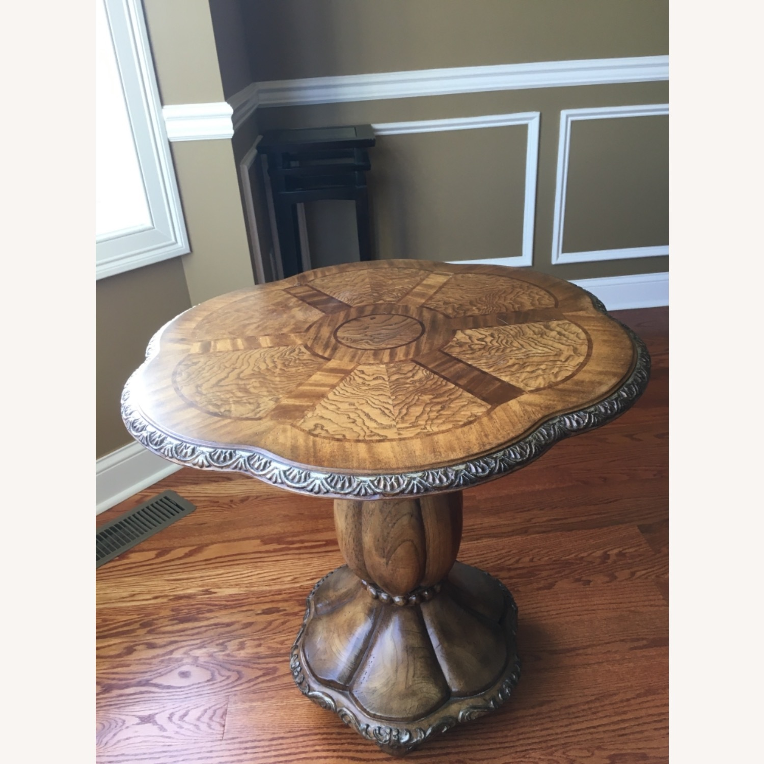 Round Pedestal Stand Burled Wood Side Table - image-1