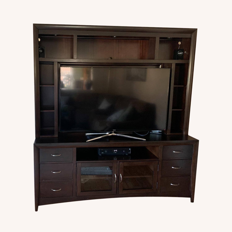 Dark Wood Media Storage with Lights - image-0