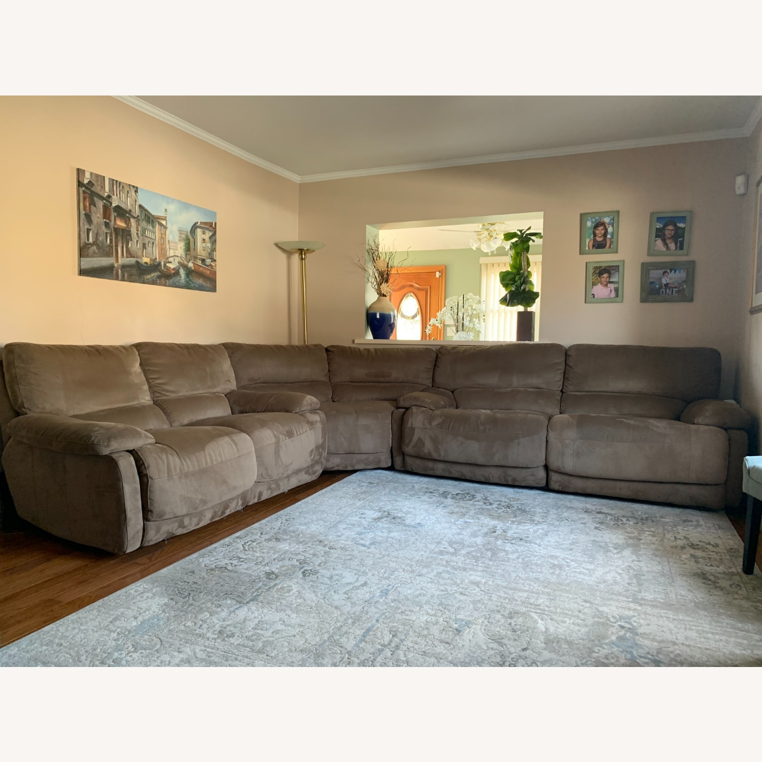 3 Piece Sectional Couch with Recliners - image-1