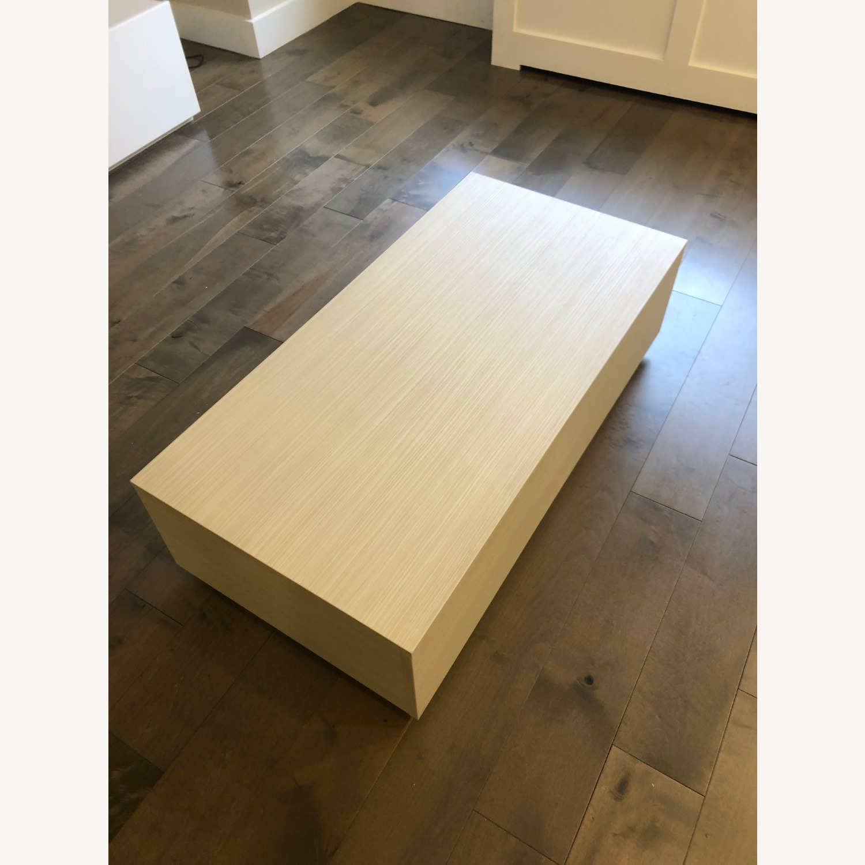 Lazzoni White Wood Coffee Table with Storage - image-4