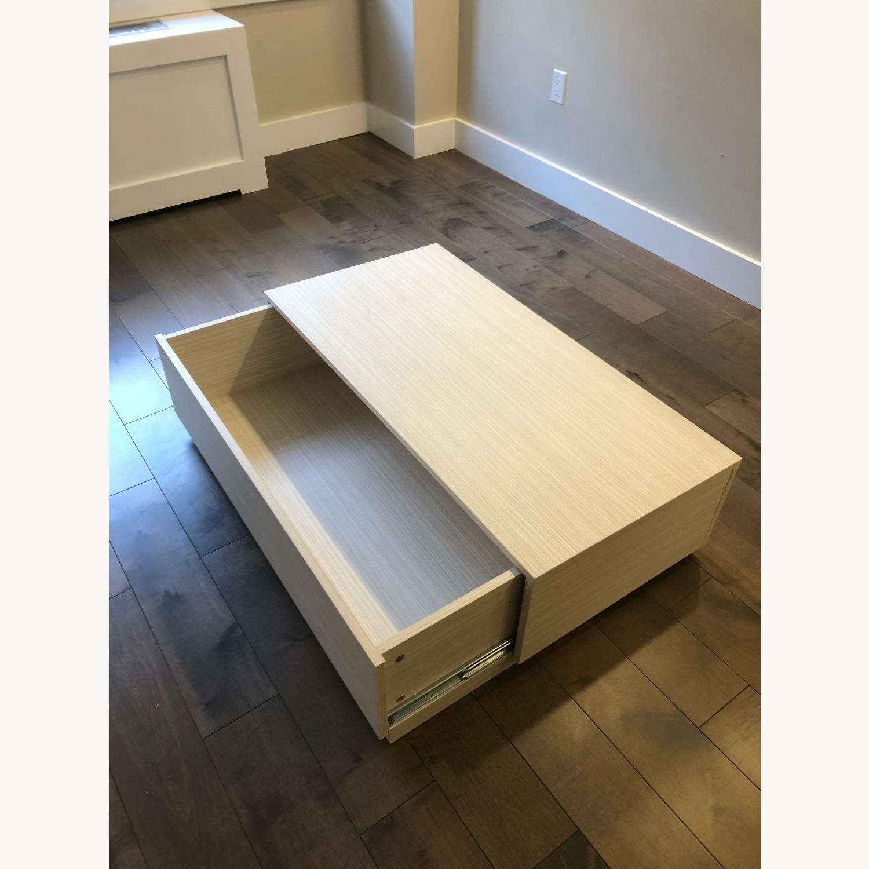 Lazzoni White Wood Coffee Table with Storage - image-1