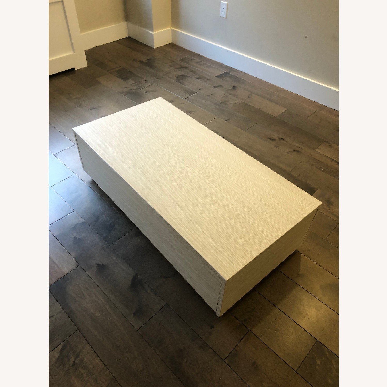 Lazzoni White Wood Coffee Table with Storage - image-3