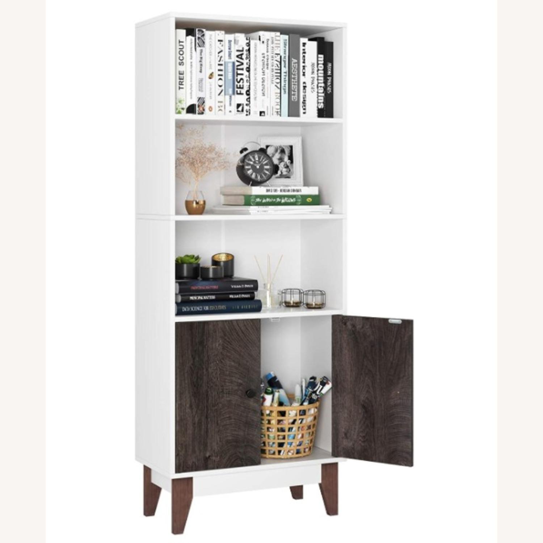 Mid Century 4 Tier Bookcase with Storage - image-1