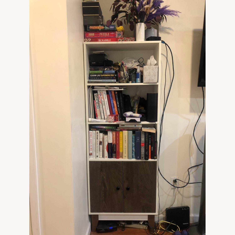 Mid Century 4 Tier Bookcase with Storage - image-3
