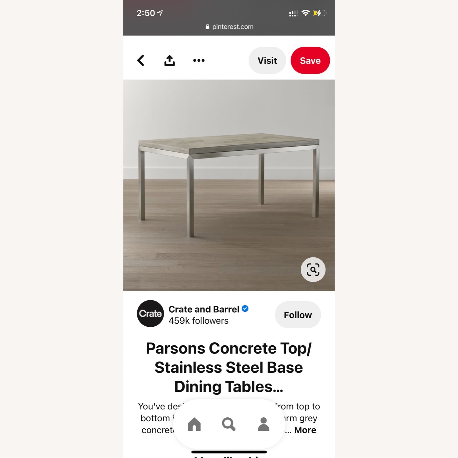 Crate & Barrel Parsons Concrete Dinning Table - image-4