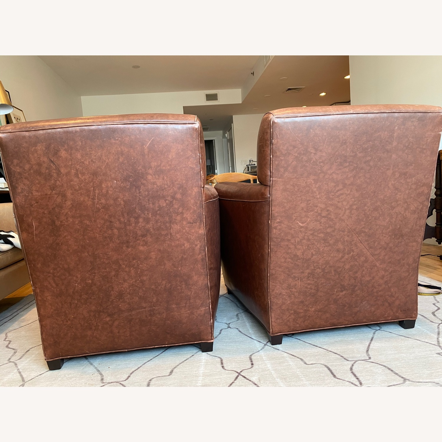 Baker + Coach Leather Club Chairs - Set of 2 - image-4