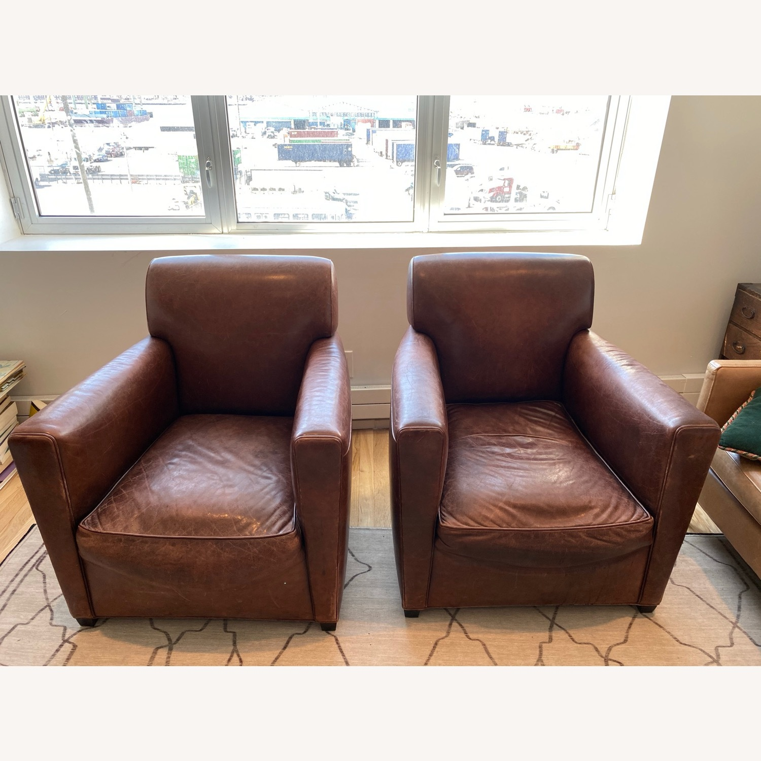 Baker + Coach Leather Club Chairs - Set of 2 - image-6
