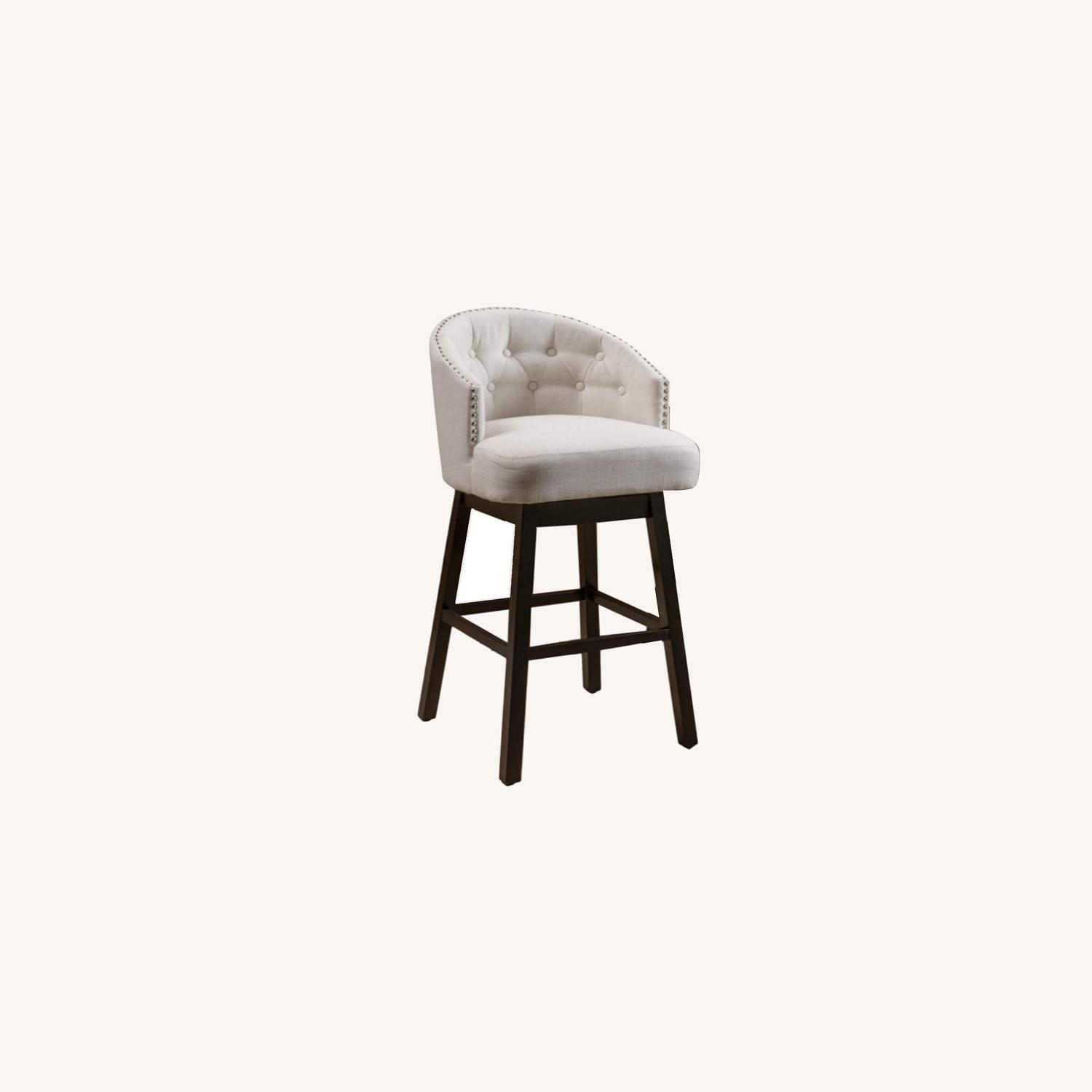 Modern Set of 2 Stools in Beige w Wood Frame  - image-0