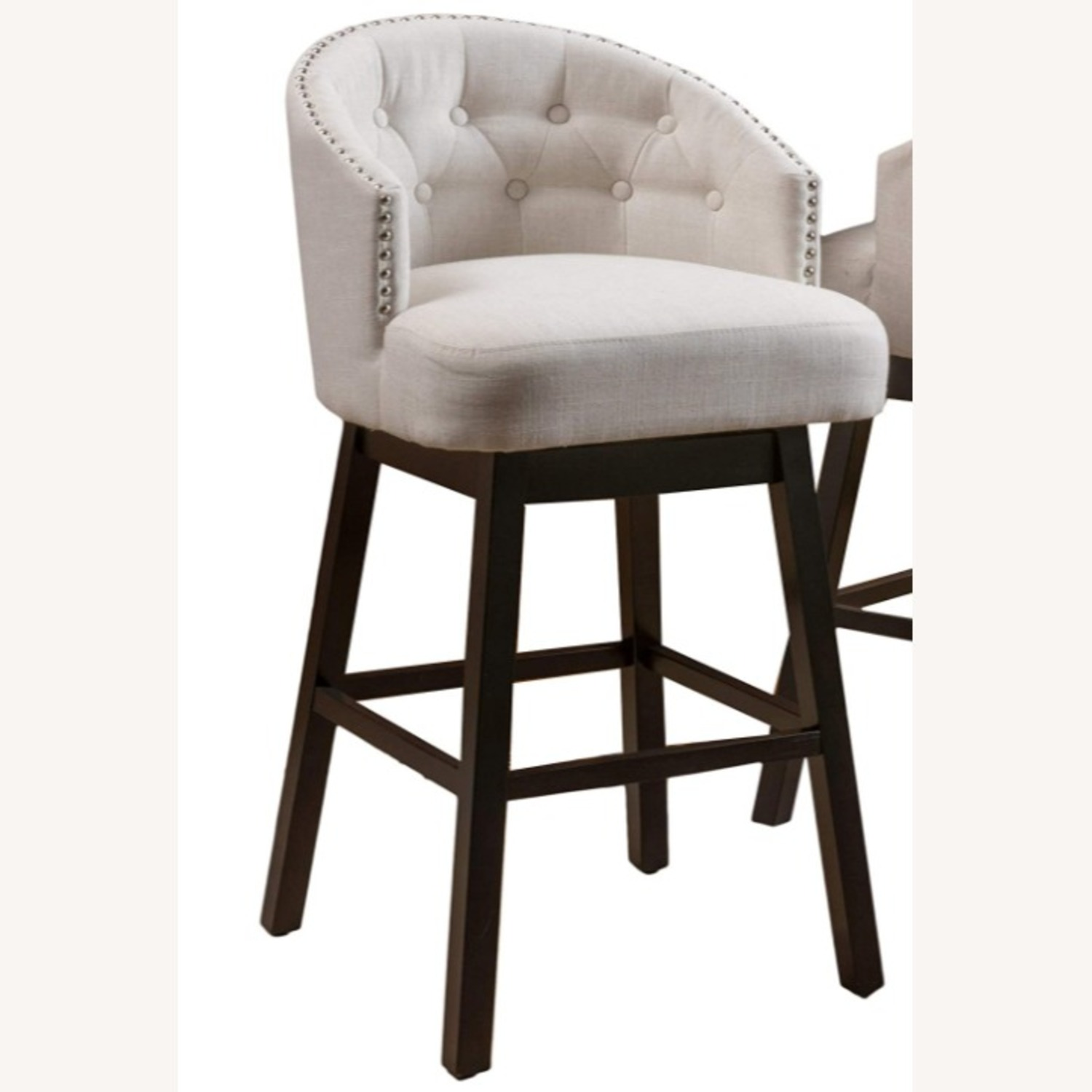 Modern Set of 2 Stools in Beige w Wood Frame  - image-1