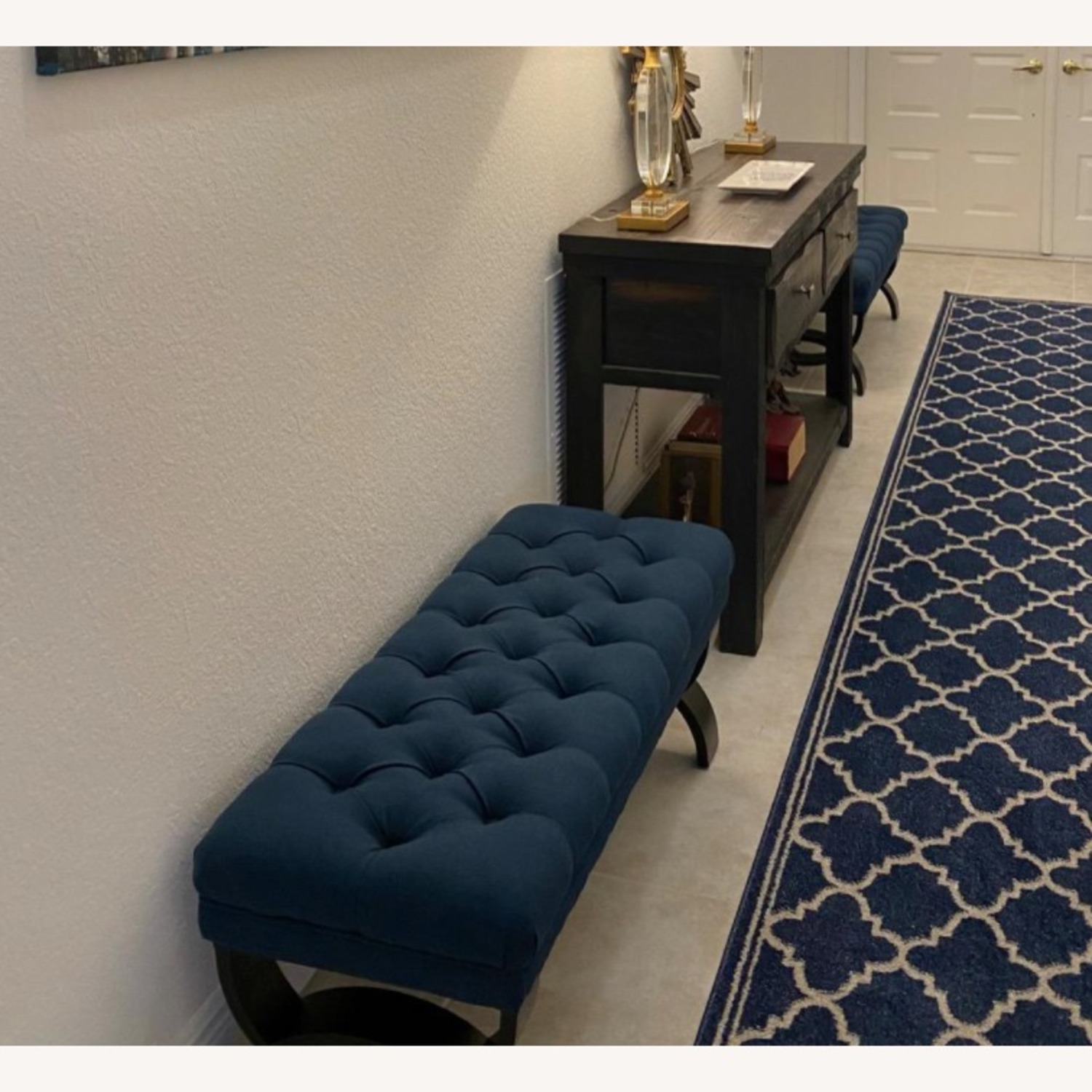 Modern Blue Tufted Ottoman Bench - image-4