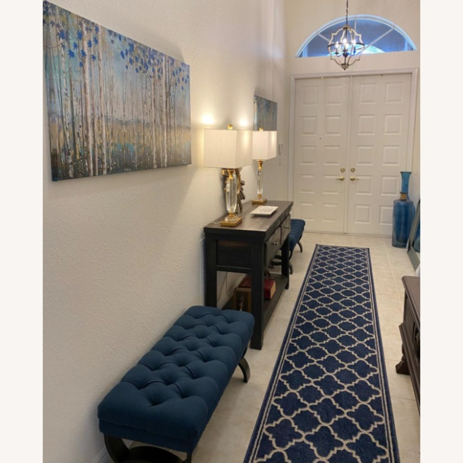 Modern Blue Tufted Ottoman Bench - image-3