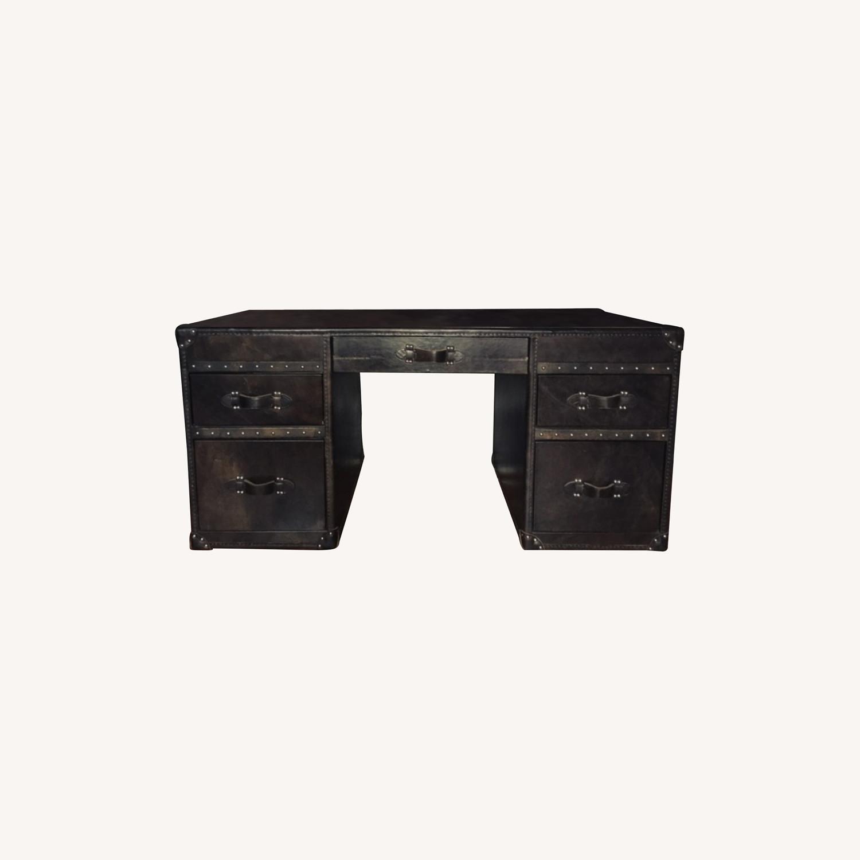 Restoration Hardware Mayfair Desk in Black Leather - image-0