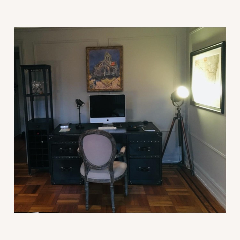 Restoration Hardware Mayfair Desk in Black Leather - image-2