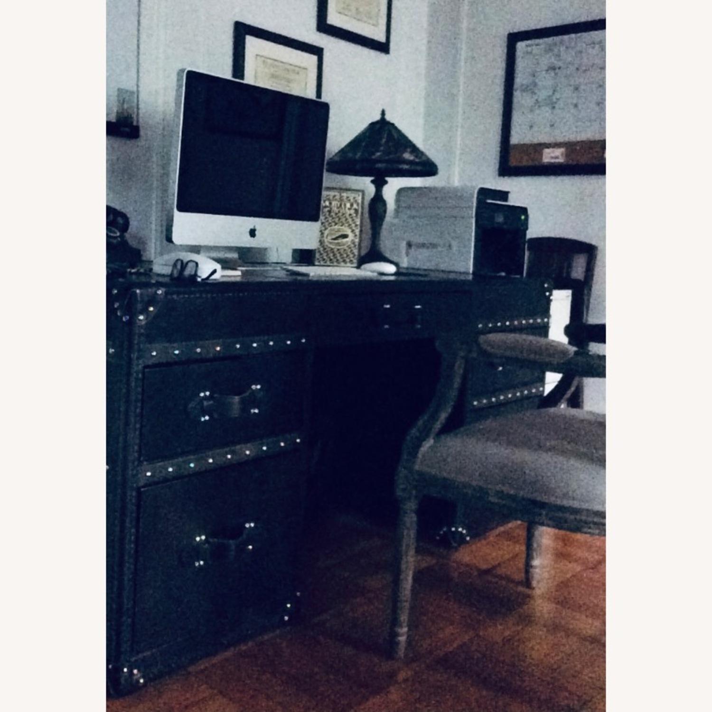 Restoration Hardware Mayfair Desk in Black Leather - image-3
