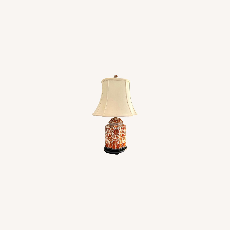 Coral Porcelain Scalloped Tea Jar Table Lamp - image-0