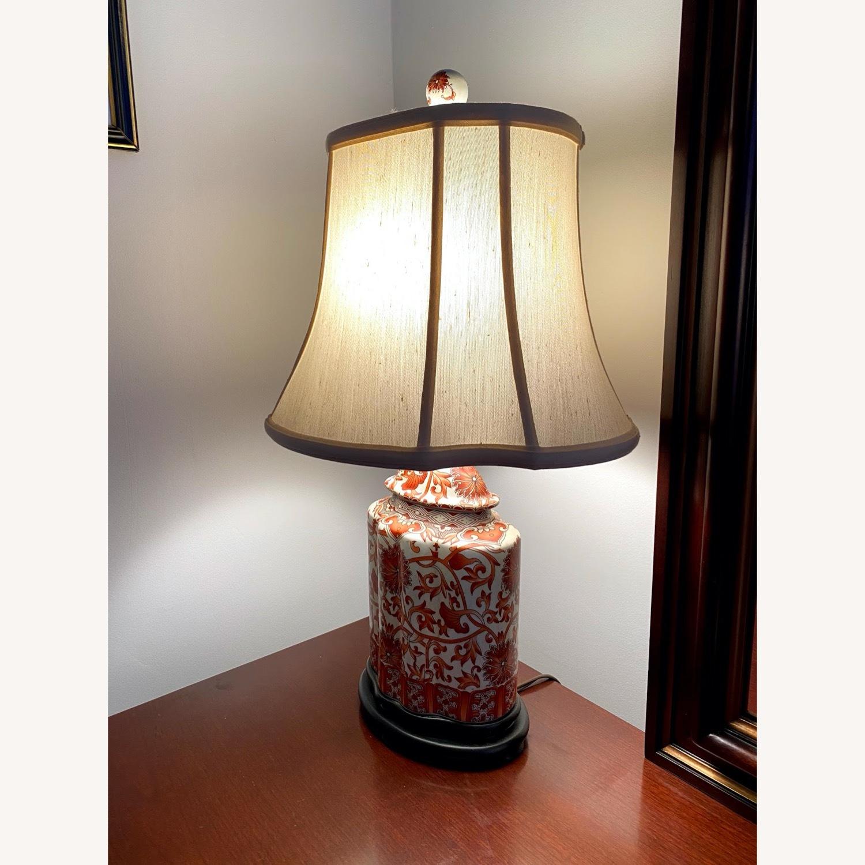Coral Porcelain Scalloped Tea Jar Table Lamp - image-2