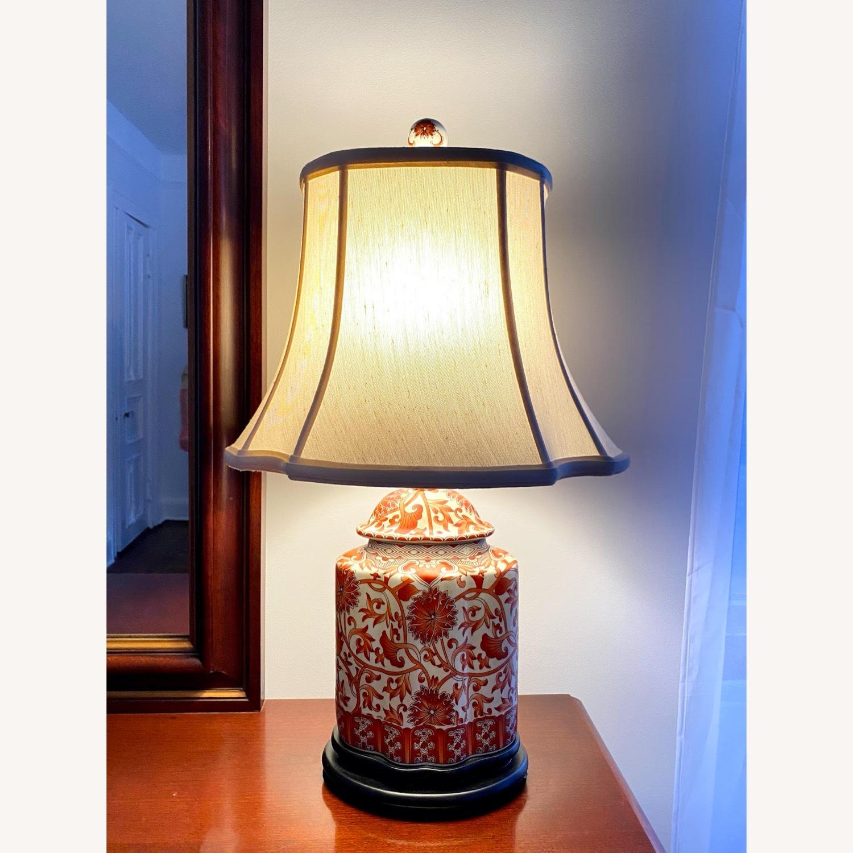 Coral Porcelain Scalloped Tea Jar Table Lamp - image-4