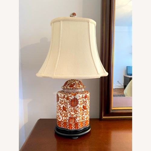 Used Coral Porcelain Scalloped Tea Jar Table Lamp for sale on AptDeco
