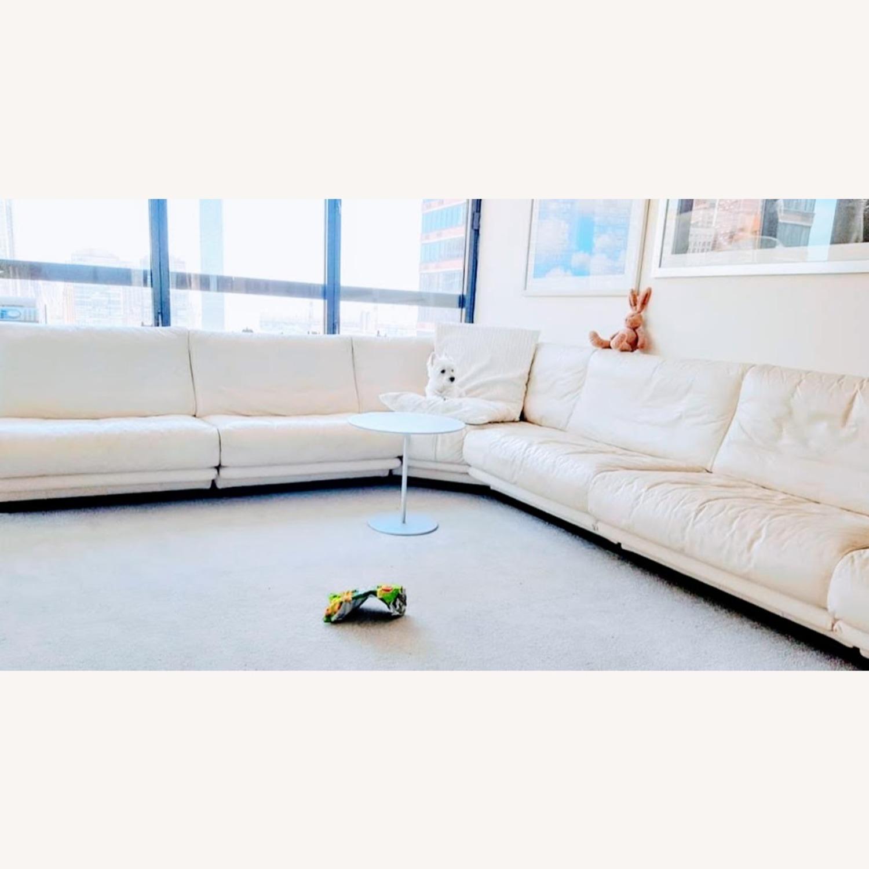 Huge Ivory leather L shaped sofa - image-2