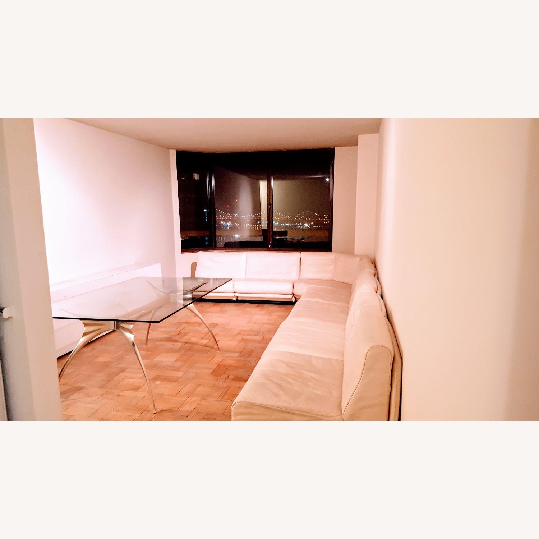 Huge Ivory leather L shaped sofa - image-1