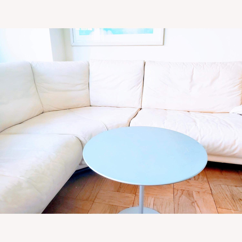 Huge Ivory leather L shaped sofa - image-3